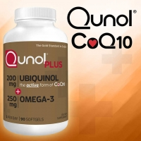 Qunol Plus Ubiquinol 200 mg.CoQ10 Omega-3, 90 Soft